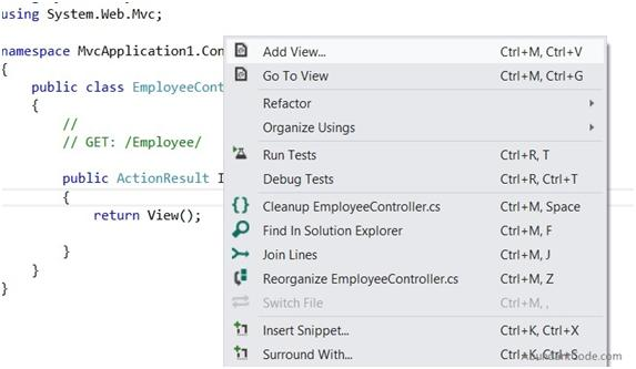 How to Create a View in ASP.NET MVC ?
