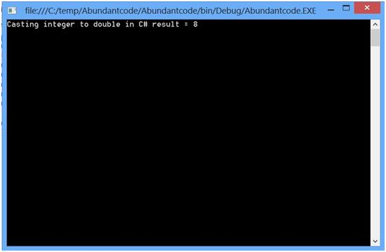 Convert or cast integer to double in C#