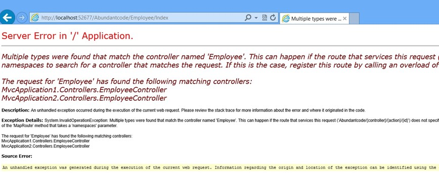 Multiple types were found that match the controller Error in ASP.NET MVC