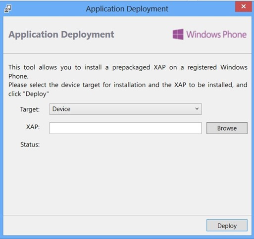 Application Deployment Tool in Windows Phone 8 SDK
