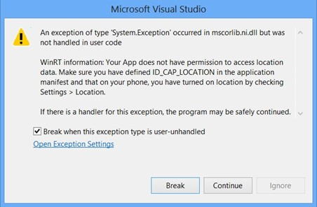 UnauthorizedAccessException or unhandled Exception when accessing Geolocator in Windows Phone