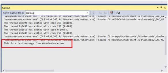 Writing the String to the Output Window in Visual Studio 2013