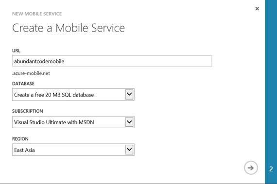 How to create a new Windows Azure Mobile Service?