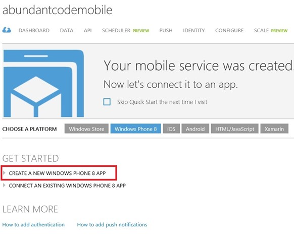 How to create a new Windows Phone app to Connect to Mobile Services in Windows Azure?