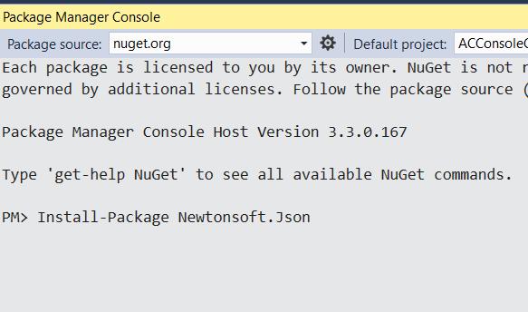 reference newtonsoft json project