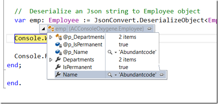 How to Deserialize an Object in Oxygene using Json.NET ?