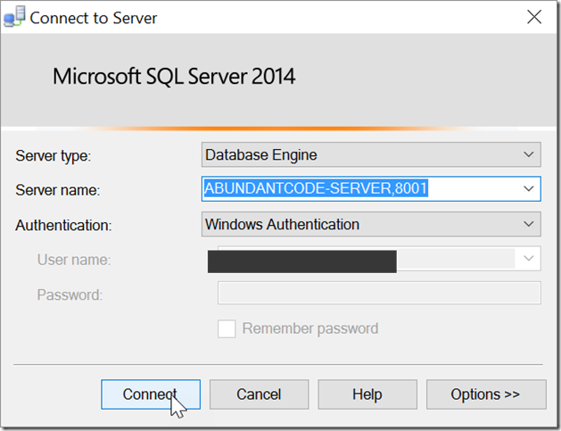 How to specify a port number when connecting to a SQL Server instance in SQL Management Studio ?