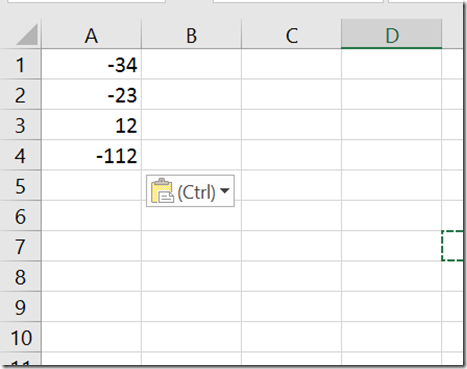 How to change positive numbers to negative in Microsoft Excel 2016 ?